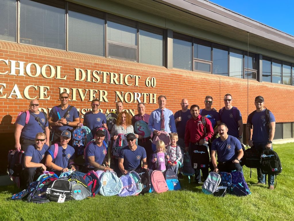 113 backpacks were donated by the Fort St John Charitable Society and Staples to support students in need.